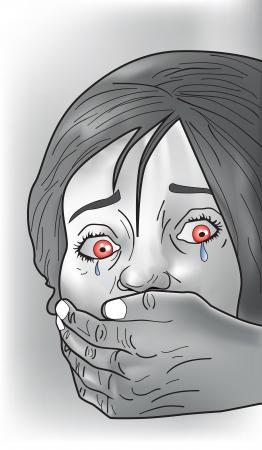 охватывающей: Похищению жертву, женщина, плача, незнакомцы руку, охватывающий рот, векторные иллюстрации Иллюстрация