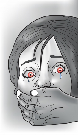 the stranger: Kidnap victim, female, crying, strangers hand covering mouth, vector illustration