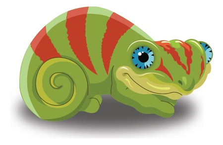 herpetology: Chameleon, Green with Red Stripes, vector illustration
