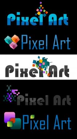 version: Pixel Art Logo, Various Designs, vector illustration Illustration