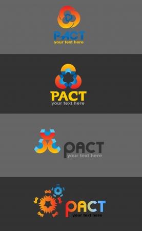 pacto: Logo Pacto, varios diseños, ilustración vectorial