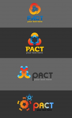 version: Pact logo, various designs, vector illustration