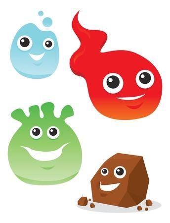 lifeform: Colorful Creatures, Smiling, Elemental Water Fire Rock, vector illustration Illustration