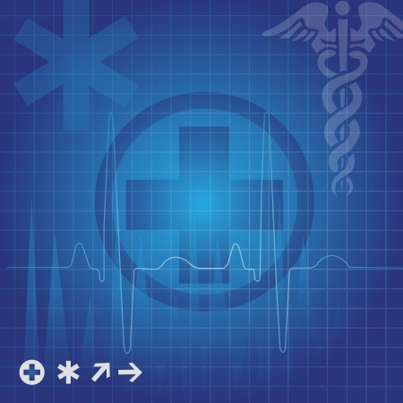 md: Medical symbols in blue grid, vector illustration Illustration