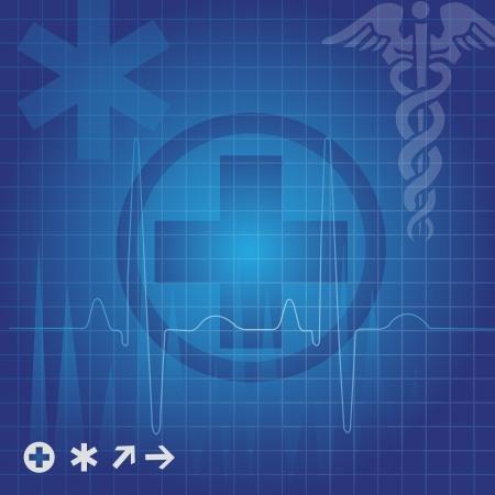 mercury staff: Medical symbols in blue grid, vector illustration Illustration