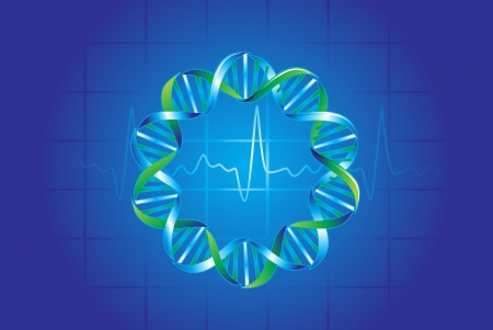 md: Medical symbols in blue showing DNA strand and pulse rate, vector illustration