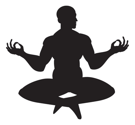 Monk in meditation, silhouette, vector illustration