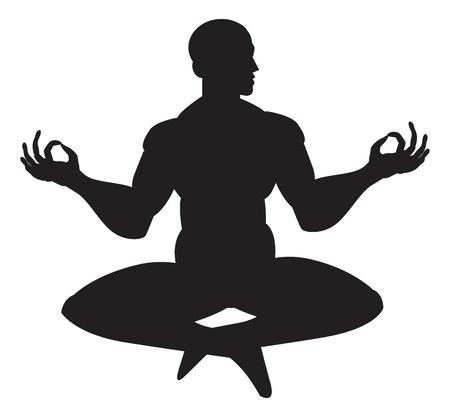 Monnik in meditatie, silhouet, vector illustratie