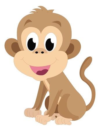 아기 원숭이, 갈색, 미소, 벡터 일러스트 레이 션
