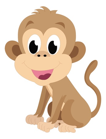 funny pictures: Baby monkey, brown, smiling, vector illustration