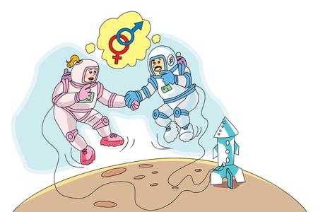 moonwalk: Astronauts in Love, Space Walk, Rocket to the Moon, vector illustration