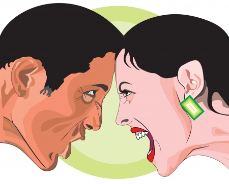 Man and woman fighting, head to head in anger, vector illustration Çizim