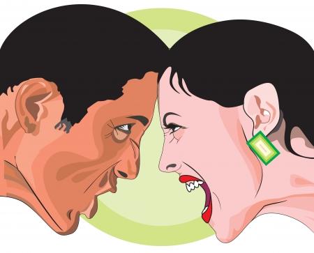 Mann und Frau kämpfen, Kopf an Kopf in Wut, Vektor-Illustration