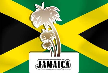 Jamaica, Jamaican flag, palm trees, vector illustration