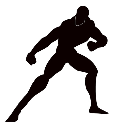 defensive: Martial Arts, Black Silhouette of a Man, Punching, Stance, vector illustration