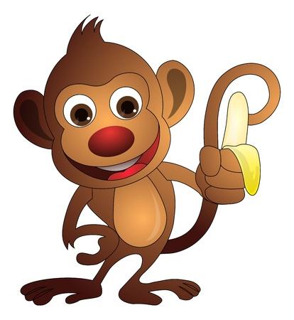 Monkey, Brown, Holding a Banana, vector illustration Vector