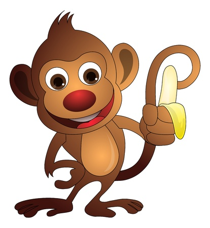 banana: Monkey, Brown, Holding a Banana, vector illustration