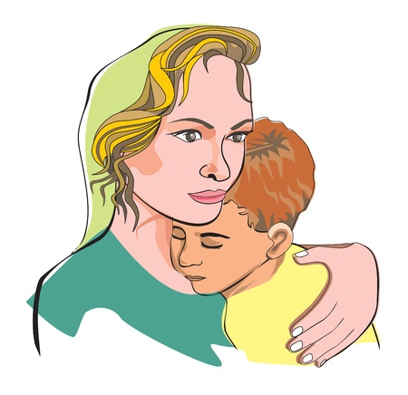 child care: Mother and son, mother embracing her son, vector illustration Illustration