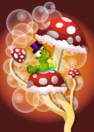 Mushrooms, Spotted, Red, Green Worm, Bubbles, Cocktail Drink, vector illustration