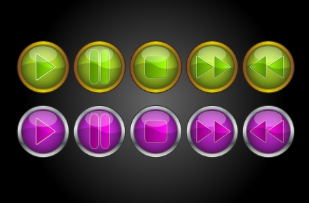 Music Player Buttons, Play Pause Stop Forward Backward, vector illustration Vector