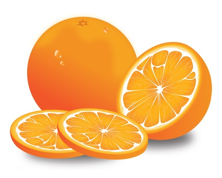 halved: Orange, Fruit, Whole, Halved and Sliced, vector illustration