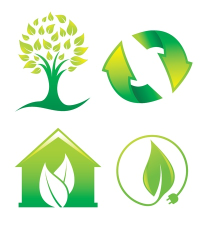 preserving: Environment, symbols or icons of a tree, recycling, green house, and green energy, vector illustration