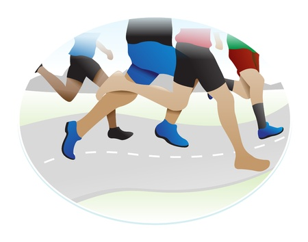 Running, legs of several runners, vector illustration 向量圖像