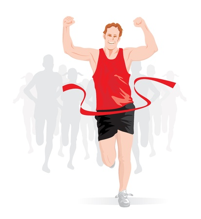 Running, male runner in red and black outfit crossing the finish line, vector illustration Illustration