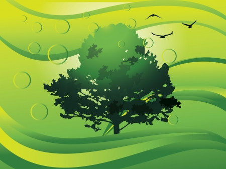 Environment, showing a tree, water (with bubbles) and birds, vector illustration Reklamní fotografie - 22066834