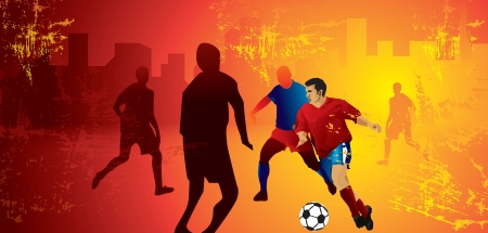 Soccer, players in a field amidst the city, vector illustration