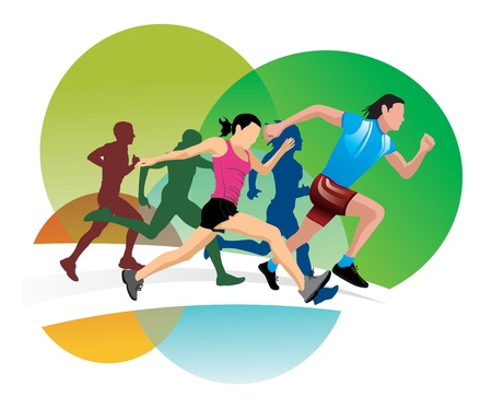 endurance run: Running, men and women running, vector illustration