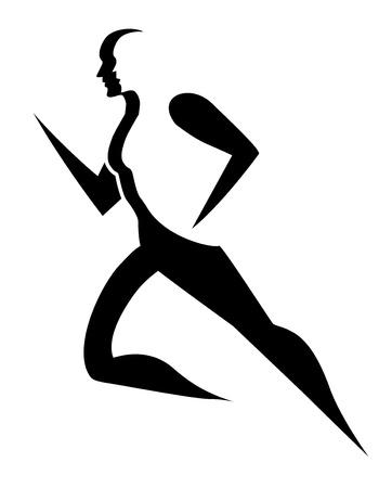 男性を実行して、ベクトル図のシンボルを実行しています。  イラスト・ベクター素材