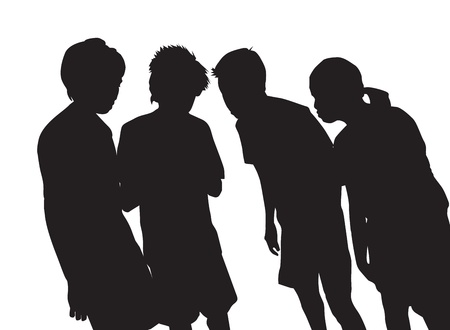 black lady talking: People, group of 4 huddled together, vector illustration Illustration