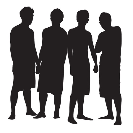 black lady talking: People, group of 4 men striking a pose, vector illustration Illustration