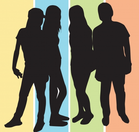 adolescent: People, group of 4 men and women striking a pose, vector illustration