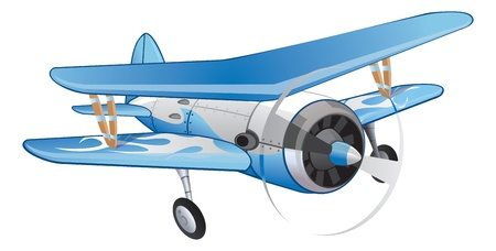 fixed wing aircraft: Biplane, Blue and White, Propeller-driven, vector illustration