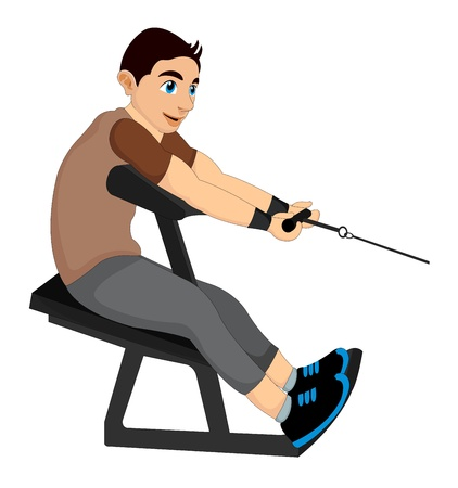 Exercising, man pulling weights, vector illustration