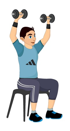 Exercising, man lifting dumbells, vector illustration Ilustração