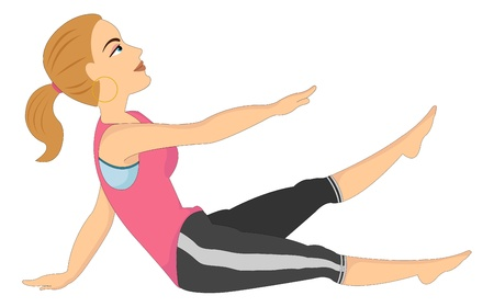 female muscle: Exercising, woman doing stretching, vector illustration
