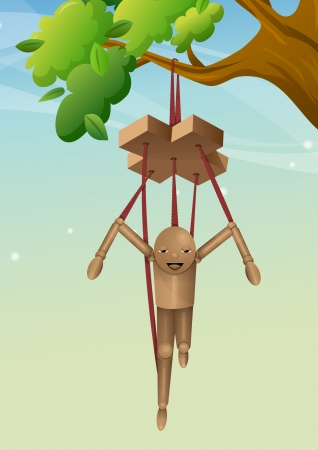 control of body movement: Wooden Puppet, Hanging on a Tree Branch, vector illustration Illustration