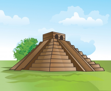 archaeology: Mayan pyramid, amidst lush greenery and a blue sky, vector illustration Illustration