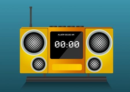 Yellow clock radio, vector illustration