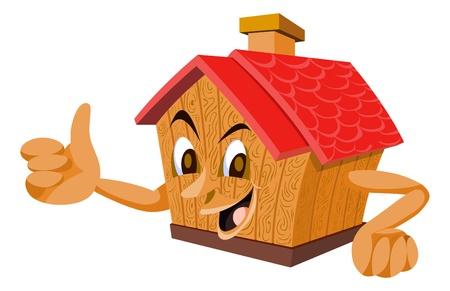buen trato: Casa de madera con una cara, mostrando el pulgar, ilustración vectorial