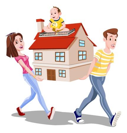 papa y mama: Familia que lleva una casa, mam�, pap�, beb�, ilustraci�n vectorial