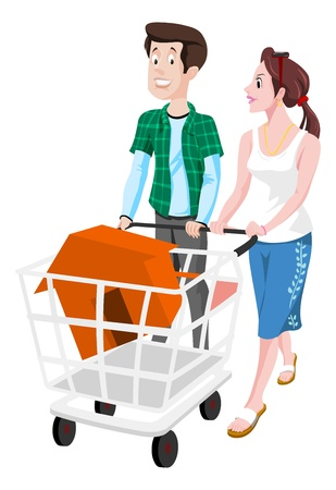 owned: Couple Buying a House, in a Shopping Cart, vector illustration