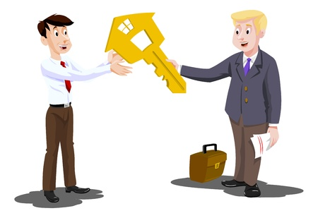handing: Man Buying a House, Real Estate Agent Handing Over the Key, vector illustration
