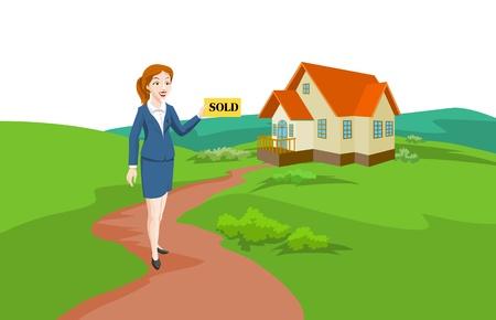 buen vivir: Mujer agente de bienes raíces venta de una casa, sosteniendo un signo vendidos, ilustración vectorial