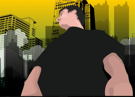 Man in the City, Wearing a Black Shirt, Roll, vector illustration  イラスト・ベクター素材