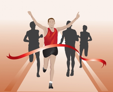 Runners crossing the finish line, first place, vector illustration Vector