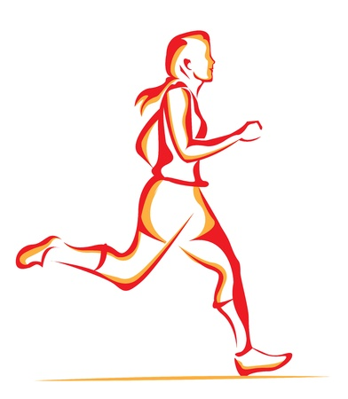 Woman running, line art, vector illustration Çizim
